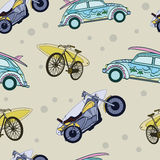 Wektorowi zabaw Surfboards Na Przewiezionych samochodów bicyklach Obrazy Stock