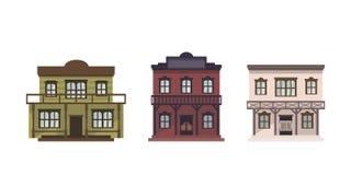 Wektorowi zachodni budynki ilustracja wektor