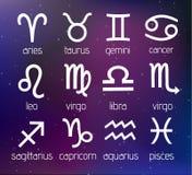 Wektorowi znaki Ustawiająca zodiak ilustracja na Pozaziemskim galaktyki tle Obraz Royalty Free