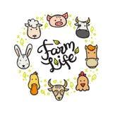 Wektorowi zwierzęta gospodarskie doodle stylową okrąg ramę z ręka piszącą list inskrypcją Fotografia Royalty Free
