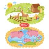 Wektorowi zwierzęta lokalizować na gospodarstwie rolnym royalty ilustracja
