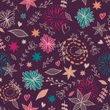 Wektorowy śliczny bezszwowy kwiecisty wzór z kwiatami, liście, serca Obraz Stock