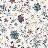 Wektorowy śliczny bezszwowy kwiecisty wzór z kwiatami, liście, serca Obrazy Royalty Free