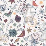 Wektorowy śliczny bezszwowy kwiecisty wzór z ptakami, klatkami, kwiatami, liśćmi i sercami, Obraz Stock