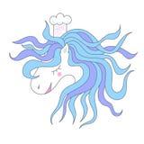Wektorowy śliczny koń, znak dla dziecka ` s przyjęcia, druku projekt dla koszulki kreskówki Szefa kuchni kucharz Fotografia Stock