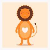 Wektorowy śliczny szczęśliwy płaski dzikie zwierzę lew z białym sercem na klatce piersiowej i długim ogonie Fotografia Royalty Free