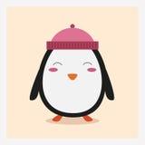 Wektorowy śliczny szczęśliwy płaski dzikie zwierzę pingwin w różowym kapeluszu z pom pom Obrazy Stock