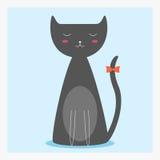 Wektorowy śliczny szczęśliwy płaski zwierze domowy kot z pomarańczowym łękiem na długim ogonie Obraz Royalty Free