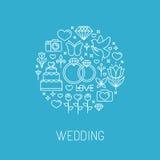 Wektorowy ślubny emblemat w konturu stylu Zdjęcia Royalty Free