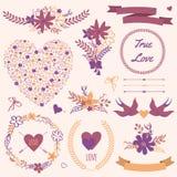 Wektorowy ślubny ustawiający z bukietami, ptaki, serca, strzała, faborki Obraz Stock