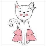 Wektorowy śmieszny kot z koroną Śliczna ręka rysująca figlarki ilustracja ilustracja wektor