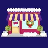Wektorowy śnieg Zakrywający sklep lub biznes Dekorujący dla zimy i bożych narodzeń royalty ilustracja