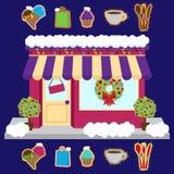Wektorowy śnieg Zakrywający sklep lub biznes Dekorujący dla zimy i bożych narodzeń ilustracji
