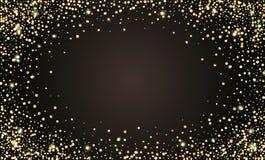 Wektorowy świąteczny czarny tło, złota błyskotliwa confetti rama dla zaproszeń, rocznica, świętowanie urodziny royalty ilustracja