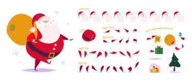 Wektorowy Święty Mikołaj charakteru twórca płatki śniegu, jedlinowy drzewo, prezenta pudełko & półdupki, - różne pozy, gesty, emo royalty ilustracja