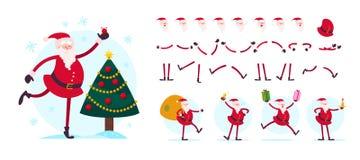 Wektorowy Święty Mikołaj charakteru twórca - różne pozy, gesty, emocje, wakacyjni elementy ilustracja wektor