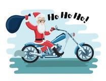 Wektorowy Święty Mikołaj motocyklista ilustracja wektor