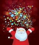 Wektorowy Święty Mikołaj z kolorowymi światłami Zdjęcie Royalty Free