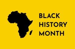 Wektorowy żółty tło z czarną sylwetką Afrykański kontynent Czarny historia miesiąc royalty ilustracja