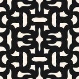 Wektorowy abstrakcjonistyczny bezszwowy geometryczny wzór z wyginającymi się kształtami, kołtuniaste linie, siatka, tkanina, wypl ilustracja wektor