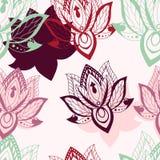 Wektorowy abstrakcjonistyczny bezszwowy wzór z lotosowymi kwiatami Abstrakt ve Zdjęcia Stock