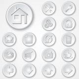 Wektorowy abstrakcjonistyczny biały round papieru ikony set Obraz Stock