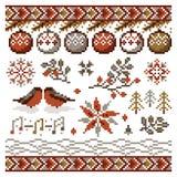 Wektorowy abstrakcjonistyczny Bożenarodzeniowy piksla ornament dla broderii ilustracja wektor