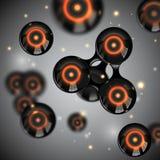 Wektorowy abstrakcjonistyczny czarny glansowany molekuła projekt Atomy z jarzeniowym jądrowym światłem iskrzą ilustrację Futuryst royalty ilustracja