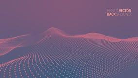 Wektorowy abstrakcjonistyczny futurystyczny cyfrowy krajobraz ilustracji
