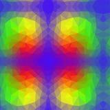 Wektorowy abstrakcjonistyczny nieregularny deseniowy wieloboka tło z trójgraniastym w tęczy widmie barwi Zdjęcia Stock