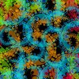 Wektorowy abstrakcjonistyczny pastelu wzór błękit przekładnie o i zielone sfery royalty ilustracja