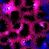 Wektorowy abstrakcjonistyczny rozjarzony wzór przekładnie i sfery w purpurach a royalty ilustracja