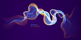 Wektorowy abstrakcjonistyczny tło z falą bieżące cząsteczki nad zmrokiem, gładki koszowy kształt wykłada, cząsteczka szyka przepł ilustracja wektor