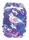 Wektorowy abstrakcjonistyczny tło z ptakami Zdjęcia Royalty Free