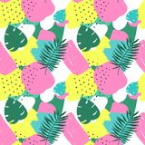 Wektorowy Abstrakcjonistyczny Tropikalny Bezszwowy wzór Kolorowa ręka rysujący elementy, Papierowy kolaż egzotyczna dżungla zasad ilustracji