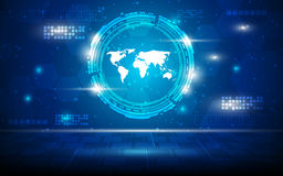 Wektorowy abstrakcjonistyczny światowej mapy techniki sci fi pojęcia perspektywiczny tło cześć Obrazy Stock