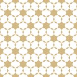 Wektorowy abstrakcjonistyczny złoto i biały geometryczny bezszwowy wzór z małymi gwiazdami, kwieciści kształty, siatka, sieć ilustracja wektor