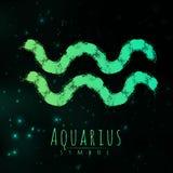 Wektorowy abstrakcjonistyczny zodiaka znaka Aquarius na ciemnym pozaziemskim tle przestrzeń z jaśnieniem gra główna rolę Mgławica Obrazy Stock