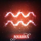 Wektorowy abstrakcjonistyczny zodiaka znaka Aquarius na zmroku - czerwony tło przestrzeń z jaśnieniem gra główna rolę Zdjęcia Royalty Free