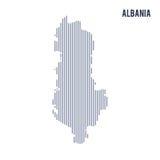 Wektorowy abstrakt kluł się mapę Albania z pionowo liniami odizolowywać na białym tle royalty ilustracja
