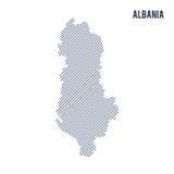 Wektorowy abstrakt kluł się mapę Albania z pochylonymi liniami odizolowywać na białym tle ilustracja wektor