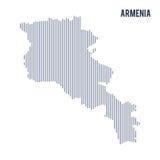 Wektorowy abstrakt kluł się mapę Armenia z pionowo liniami odizolowywać na białym tle Ilustracji