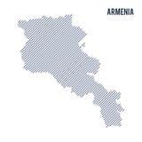 Wektorowy abstrakt kluł się mapę Armenia z pochylonymi liniami odizolowywać na białym tle Obraz Royalty Free