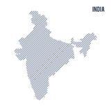 Wektorowy abstrakt kluł się mapę India z pochylonymi liniami odizolowywać na białym tle ilustracji