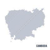 Wektorowy abstrakt kluł się mapę Kambodża z pochylonymi liniami odizolowywać na białym tle ilustracja wektor