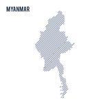 Wektorowy abstrakt kluł się mapę Myanmar z pochylonymi liniami odizolowywać na białym tle royalty ilustracja