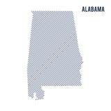 Wektorowy abstrakt kluł się mapę stan Alabama z pochylonymi liniami odizolowywać na białym tle ilustracji