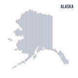 Wektorowy abstrakt kluł się mapę stan Alaska z pionowo liniami odizolowywać na białym tle Zdjęcia Stock