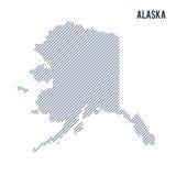 Wektorowy abstrakt kluł się mapę stan Alaska z pochylonymi liniami odizolowywać na białym tle Zdjęcia Stock