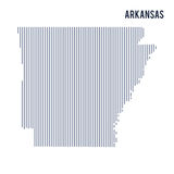 Wektorowy abstrakt kluł się mapę stan Arkansas z pionowo liniami odizolowywać na białym tle Zdjęcie Stock